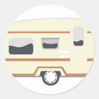 Camper Trailer Camping Van Classic Round Sticker