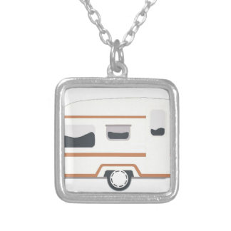 Camper Trailer Camping Van Silver Plated Necklace