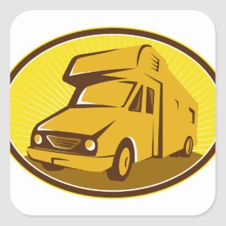 Camper Van Mobile Home Retro Square Sticker