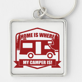 Camper van Silver-Colored square keychain