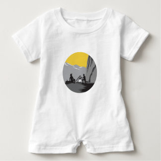 Campers Sitting Cooking Campfire Circle Woodcut Baby Romper