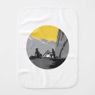 Campers Sitting Cooking Campfire Circle Woodcut Burp Cloth