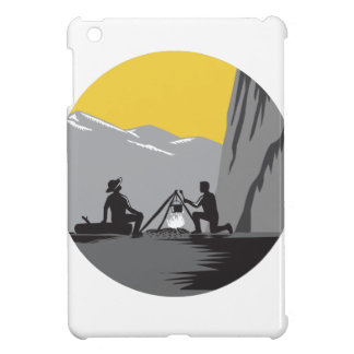 Campers Sitting Cooking Campfire Circle Woodcut Case For The iPad Mini