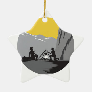 Campers Sitting Cooking Campfire Circle Woodcut Ceramic Star Ornament