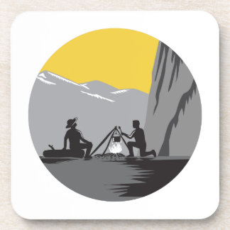 Campers Sitting Cooking Campfire Circle Woodcut Coaster