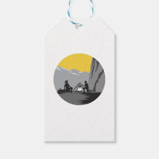 Campers Sitting Cooking Campfire Circle Woodcut Gift Tags