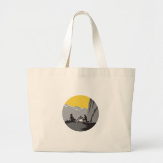 Campers Sitting Cooking Campfire Circle Woodcut Large Tote Bag