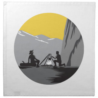 Campers Sitting Cooking Campfire Circle Woodcut Napkin