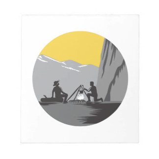 Campers Sitting Cooking Campfire Circle Woodcut Notepad