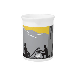 Campers Sitting Cooking Campfire Circle Woodcut Pitcher