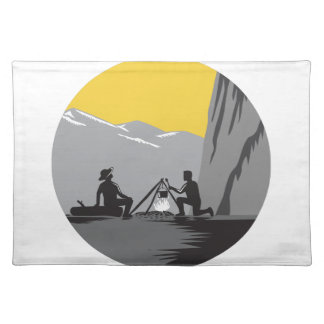 Campers Sitting Cooking Campfire Circle Woodcut Placemat