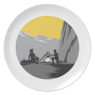 Campers Sitting Cooking Campfire Circle Woodcut Plate