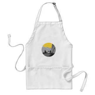 Campers Sitting Cooking Campfire Circle Woodcut Standard Apron