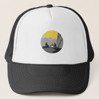 Campers Sitting Cooking Campfire Circle Woodcut Trucker Hat