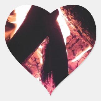 Campfire at night heart sticker