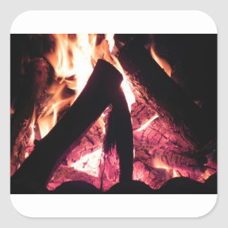 Campfire at night square sticker