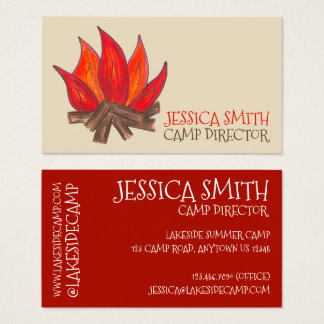 Campfire Camp Fire Counselor Director Campground Business Card
