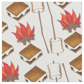 Campfire Camping Marshmallow S'mores Camp Fabric