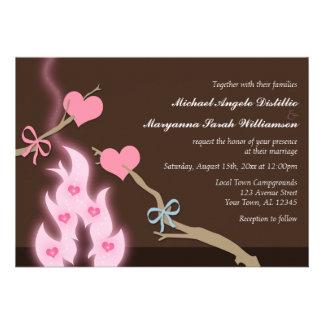 Campfire Hearts Campground Wedding Invitations