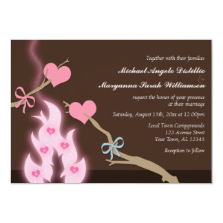 Campfire Hearts Campground Wedding Invitations
