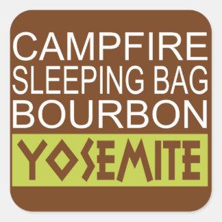 Campfire Sleeping Bag Bourbon Yosemite Square Sticker