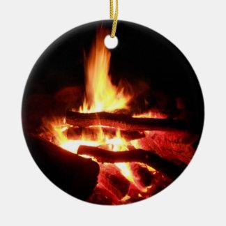 Campground Fire Ceramic Ornament