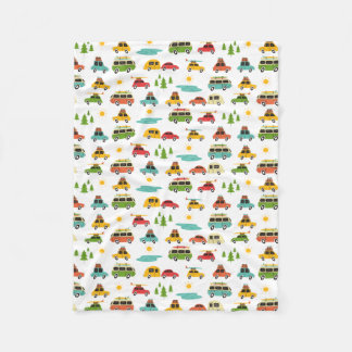 Camping Adventure Caravan Fleece Blanket