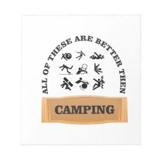 camping bad not good notepads