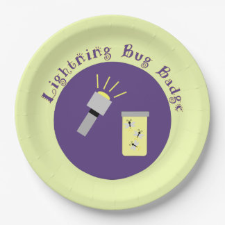 Camping Badge Lightning Bug 9 Inch Paper Plate