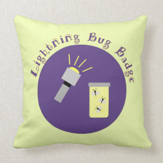 Camping Badge Lightning Bug Throw Pillow