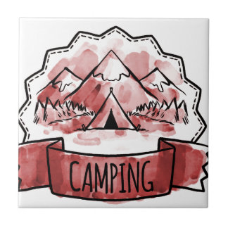 Camping Badge Tile