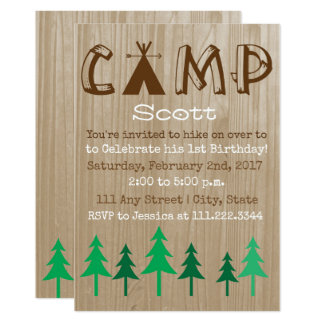 Camping Birthday Invite- Special Bday Card
