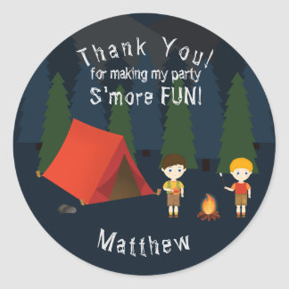 Camping Birthday Party Classic Round Sticker