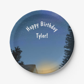 Camping Birthday Party Customizable Message Paper Plate