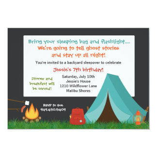"Camping Birthday Party Invitation 5"" X 7"" Invitation Card"