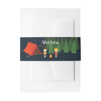 Camping Birthday Party Invitation Belly Band