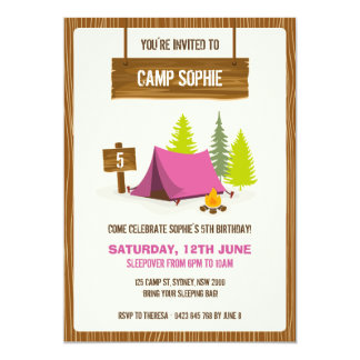 Camping Birthday Party Invitation - GIRL