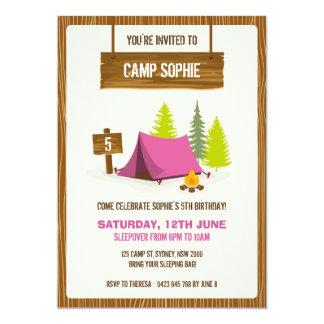 Camping Birthday Party Invitation - GIRL