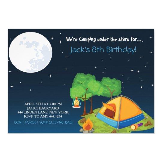 Camping Birthday Party Invitations