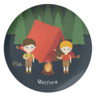 Camping Birthday Party Plate