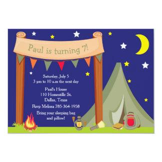 Camping Birthday Party Sleepover Khaki Green Card