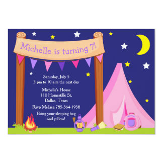 Camping Birthday Party Sleepover Pink and Purple Card