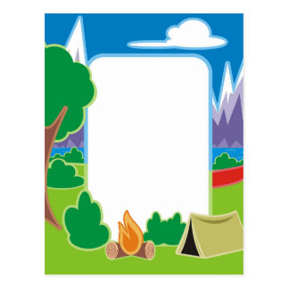 Camping Border Postcard