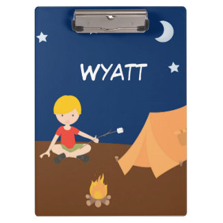 Camping Boy Camper Night Sky Tent Fire Clipboard