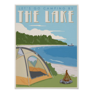 Camping by the Lake Poster