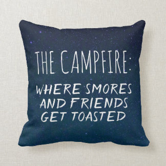 Camping Campfire Funny Saying Smores Friends Blue Throw Pillow