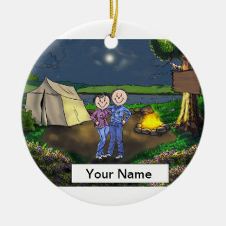 Camping Couple Ceramic Ornament
