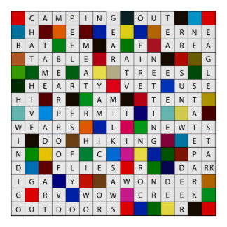 Camping Crossword Poster