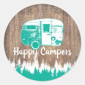 Camping Fun Happy Camper Rustic Forest Classic Round Sticker