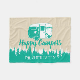 Camping Fun Happy Camper Rustic Forest Family Name Fleece Blanket